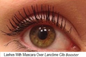 Lashes With Mascara over Lancôme Cils Booster