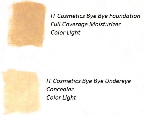 IT Cosmetics Bye Bye Foundation Full Coverage Moisturizer Swatches