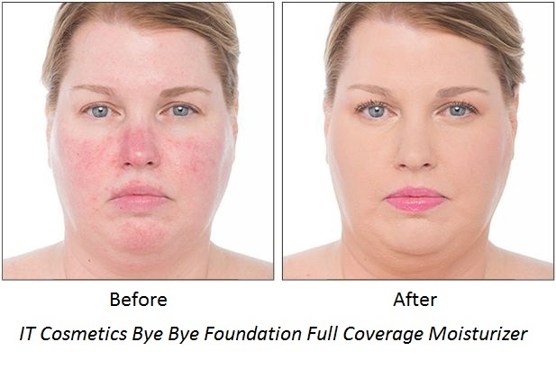 IT Cosmetics Bye Bye Foundation Full Coverage Moisturizer Before After