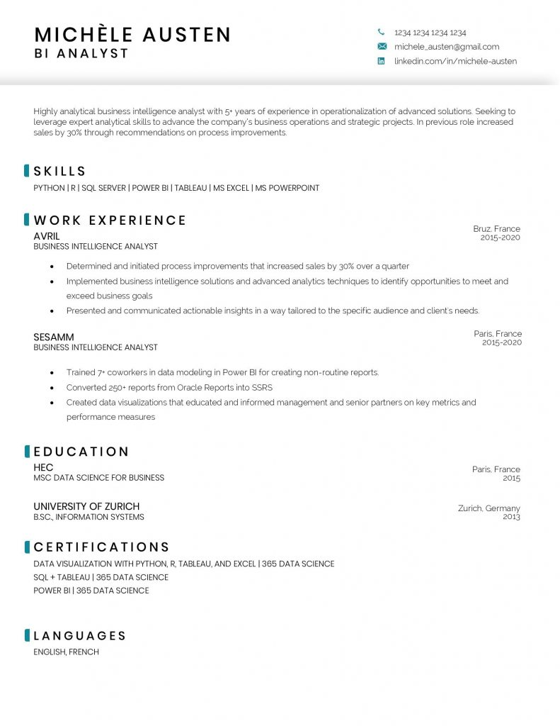 09/08/2021· business intelligence developer with 10+ years of experience in finance and insurance. Business Intelligence Analyst Resume Sample And Template 365 Data Science