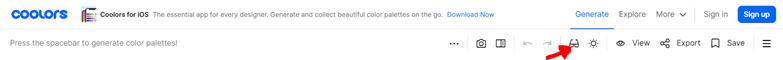 Coolors color palette generator: blindness filter