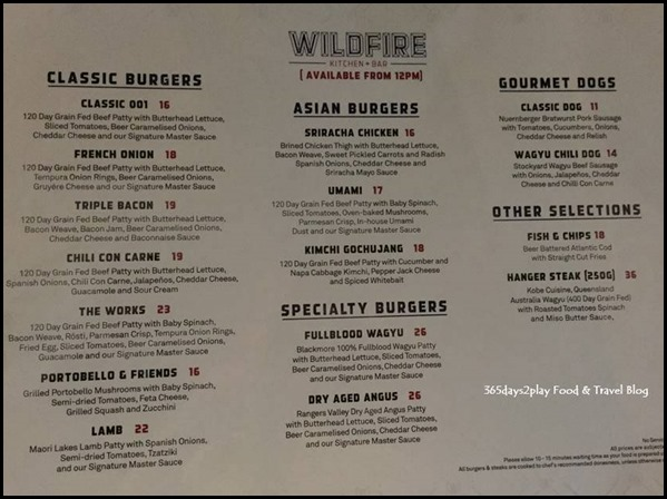 Wildfire Kitchen Bar Lunch Dinner Menu Available