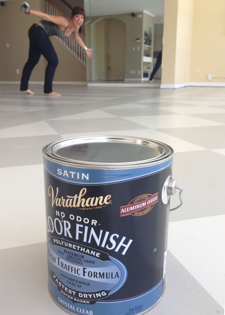 My hand painted floors sealed with Varathane High Traffic Polyurethane in a satin finish.