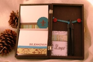 upcycled cigar box turned stationary set