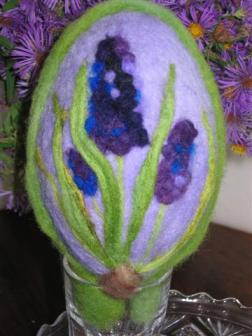 Needle felted sugared  egg - hyacinth