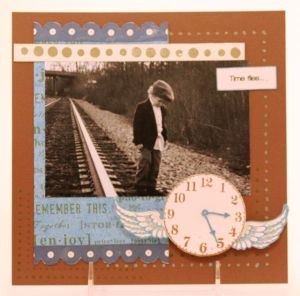 Stamped scrapbook with Hampton Art