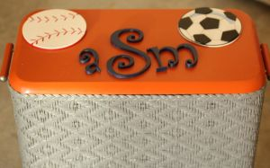 Monogramed vintage hamper