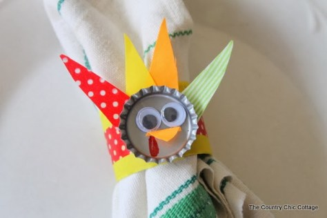 09 - The Country Chic Cottage - DIY Bottle Cap Turkey Napkin Ring