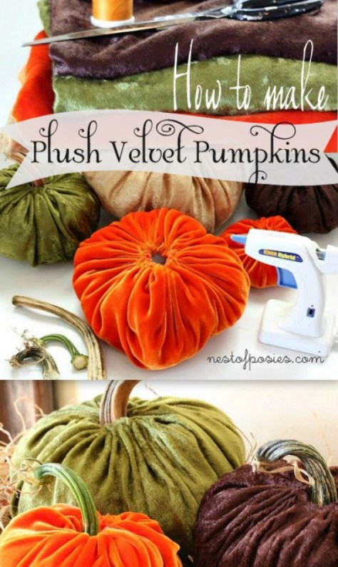 12 - Nest of Posies - Plush Velvet Pumpkins