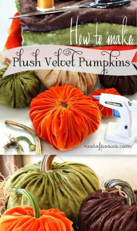 12 - Nest of Posies - Plush Velvet Pumpkins