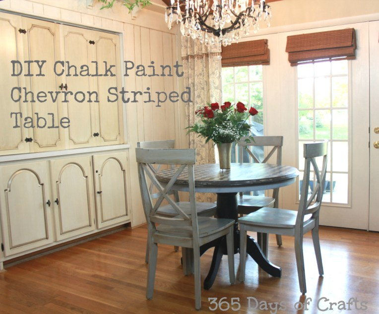 chalk paint table frog tape shape tape diy Chevron Tape Table Tutorial