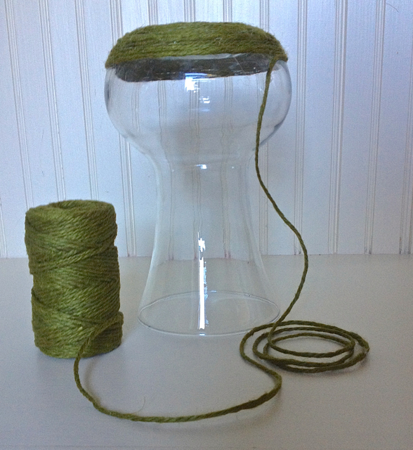 hot glue jute to vase