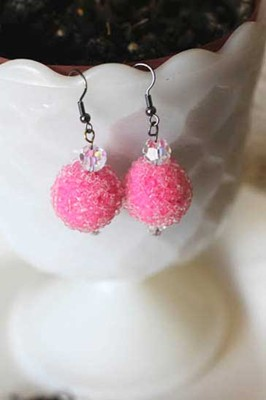 pink polymer clay sugar beads earrings