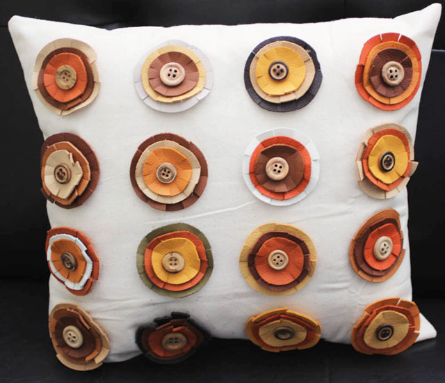 leather rosette throw pillow