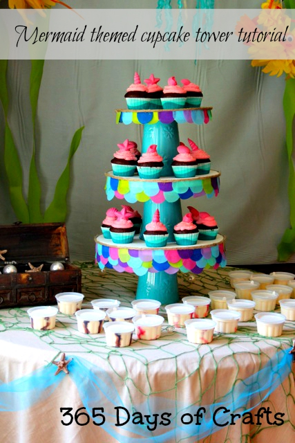 mermaid themed cupcake tower Make a mermaid themed cupcake tower for your mermaid themed party ideas