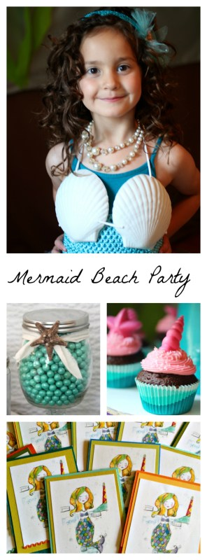 Craft, games, food, activities for a mermaid beach party.