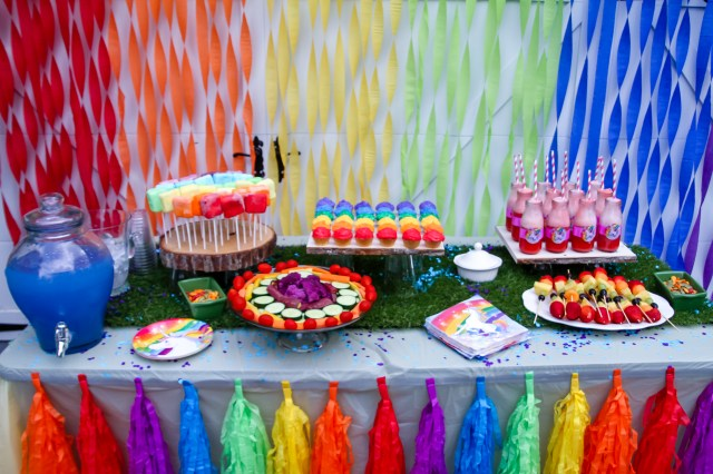 rainbow themed foods for a little girl rainbow unicorn party