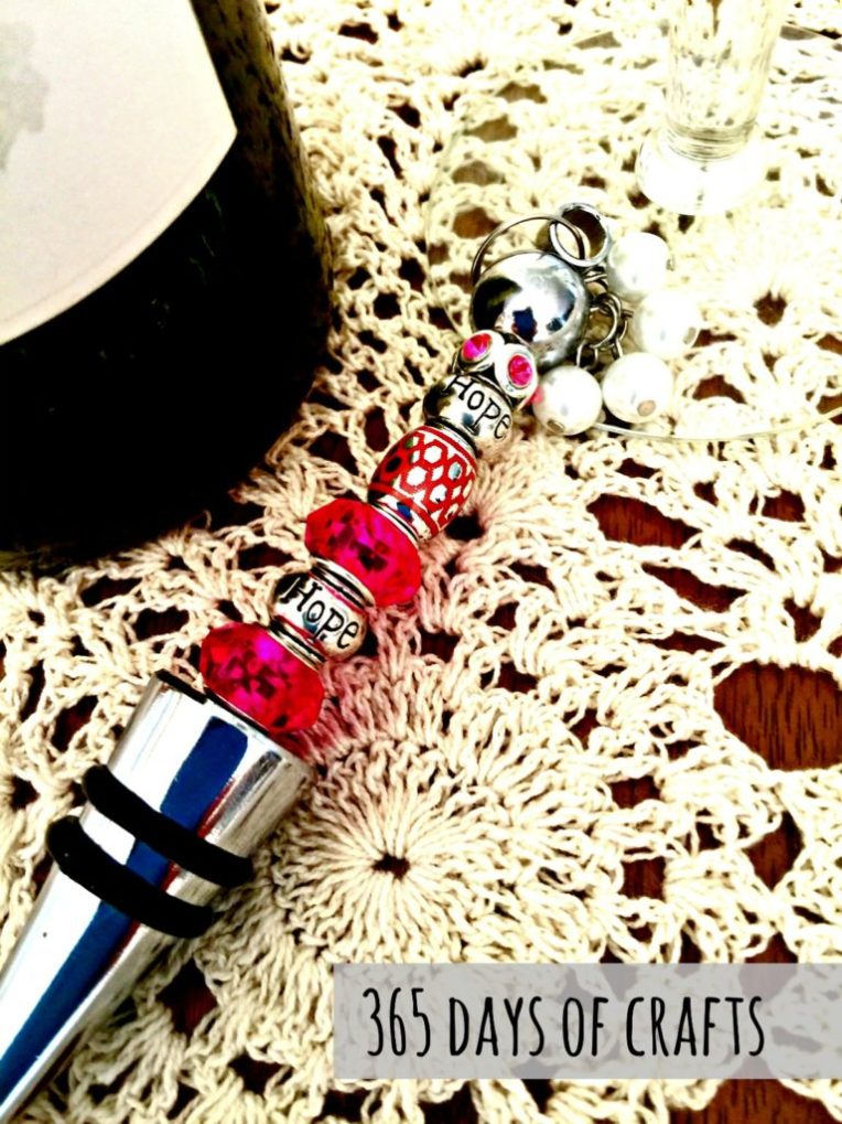 DIY BCA Pink Hope Beaded Wine Stoppers - great handmade gift idea by Niki Meiners