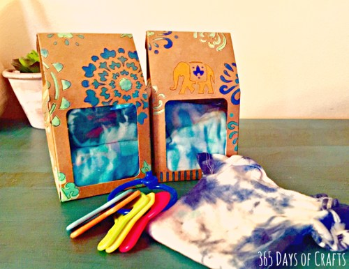DIY boho chic gift packaging idea tie dye baby onesies