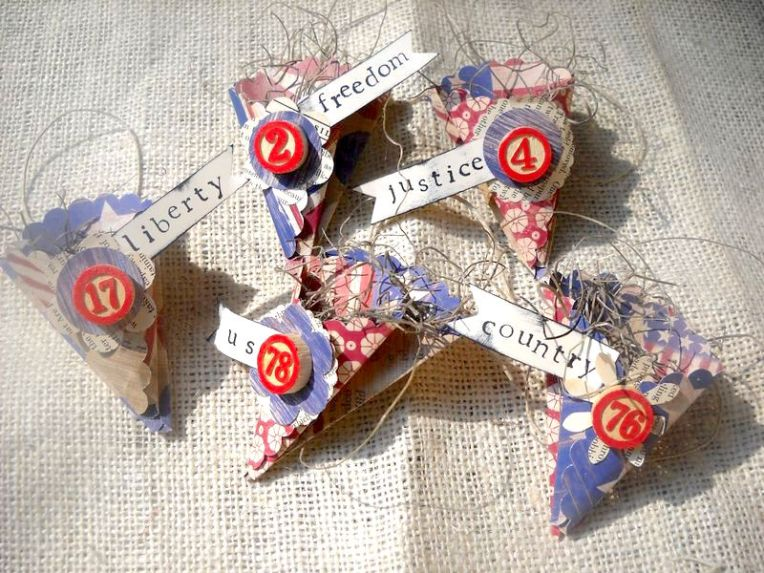 Create nostalgic and patriotic party decorations for the 4th of July using scrapbook paper and paper punches.  Add a few pieces of ephemera for embellishments and you have unique decorations.