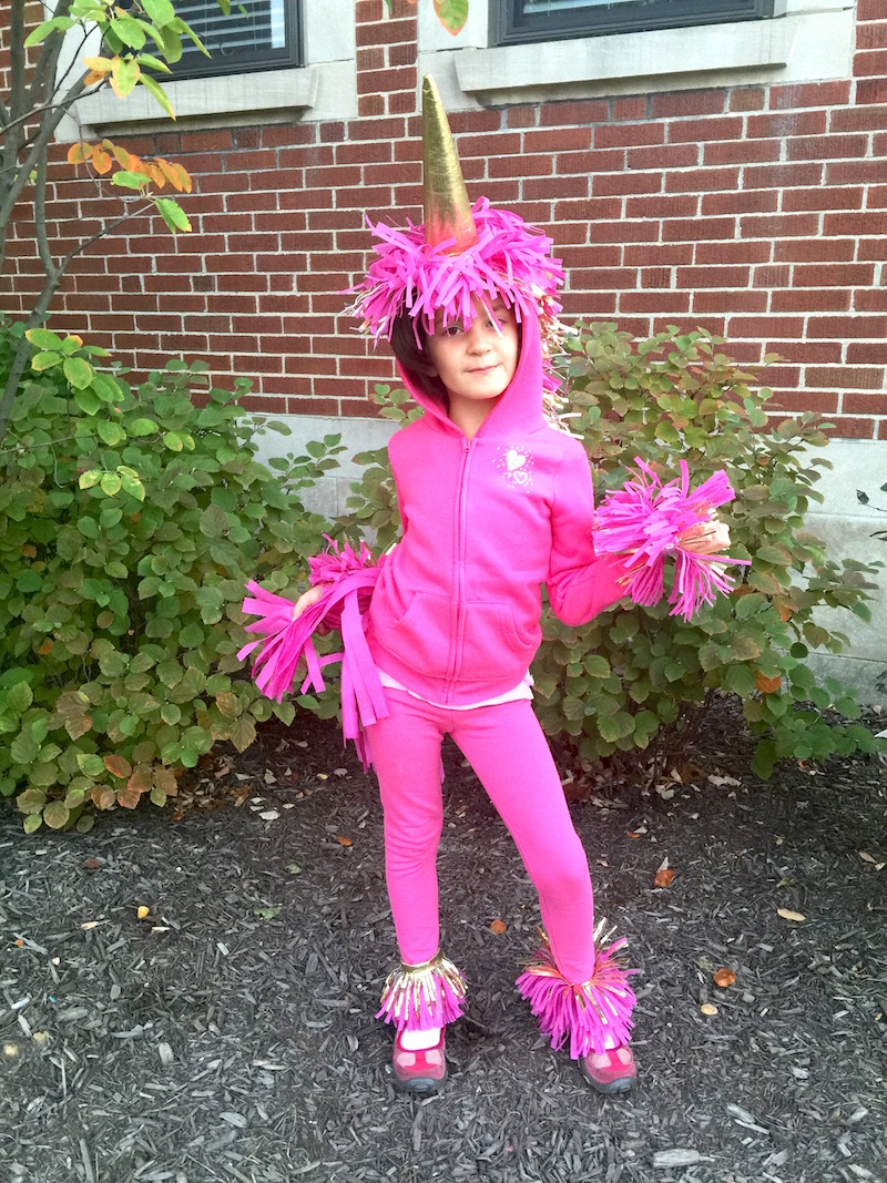 Make an easy unicorn costume from leggings and a hoodie