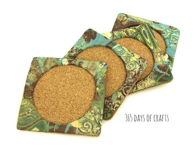 Polymer clay mokume gane coasters with instructions on the cool technique