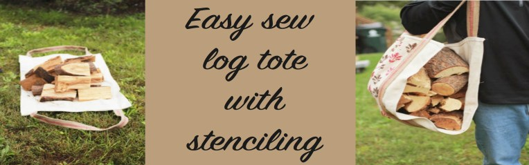 easy sew log tote with stenciling