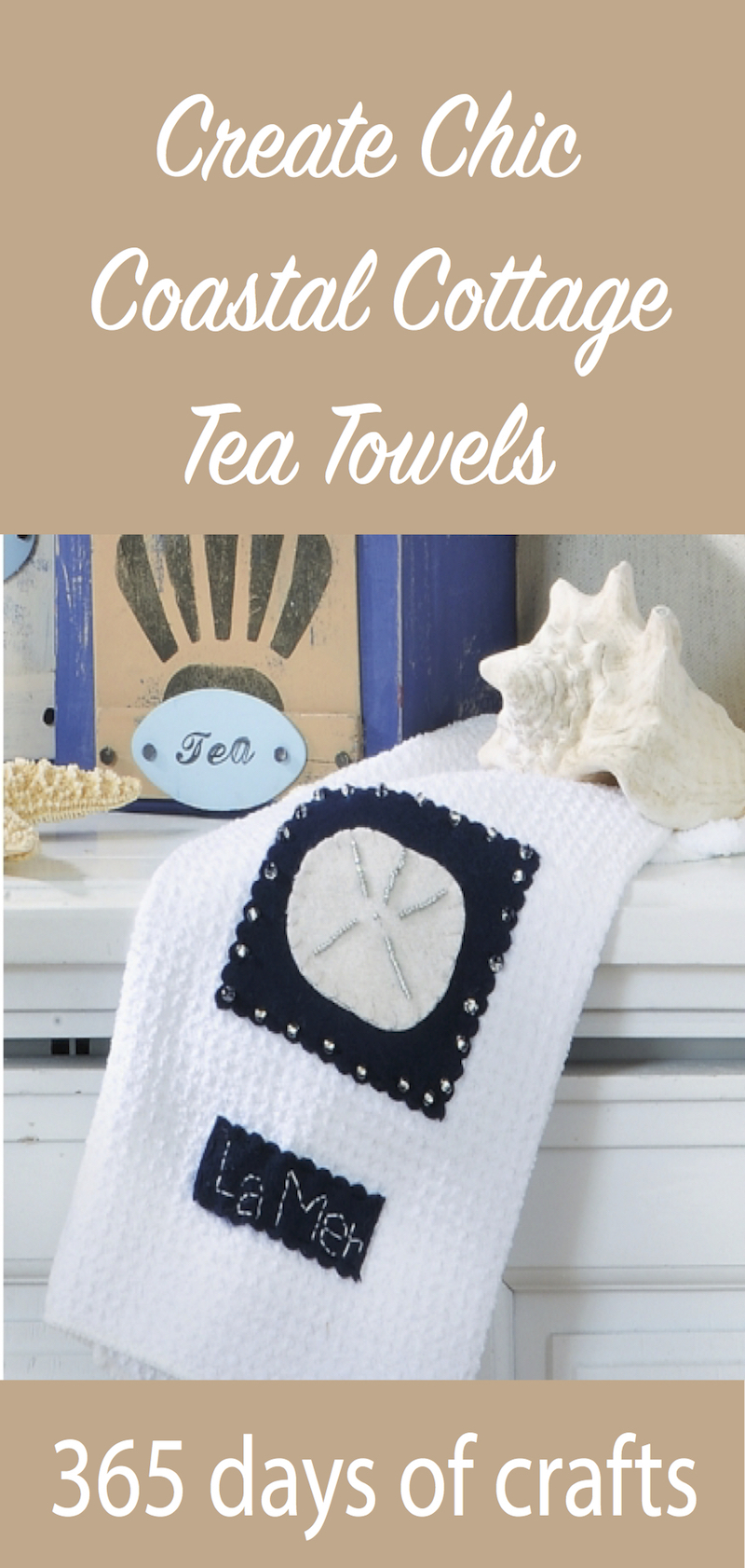 picture regarding Printable Towels called Crank out stylish seashore cottage tea towels with absolutely free printable behavior