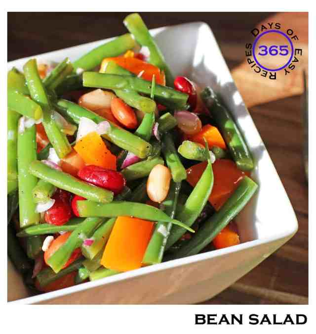 A bean salad that makes an excellent dish to bring to a potluck dinner or to serve as a side dish at your BBQ. fresh bean salad recipe | 365daysofeasyrecipes.com