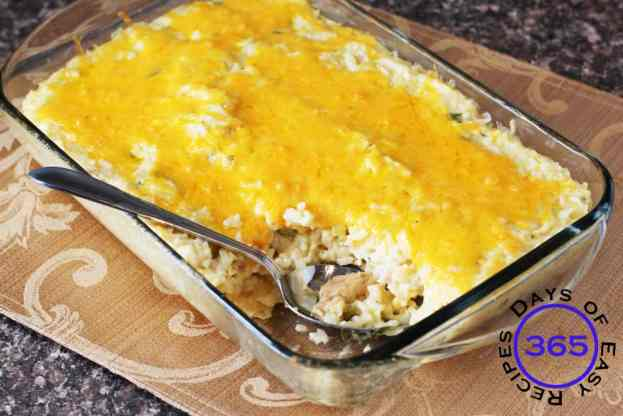Easy Chicken Enchiladas Rice casserole 365daysofeasyrecipes.com