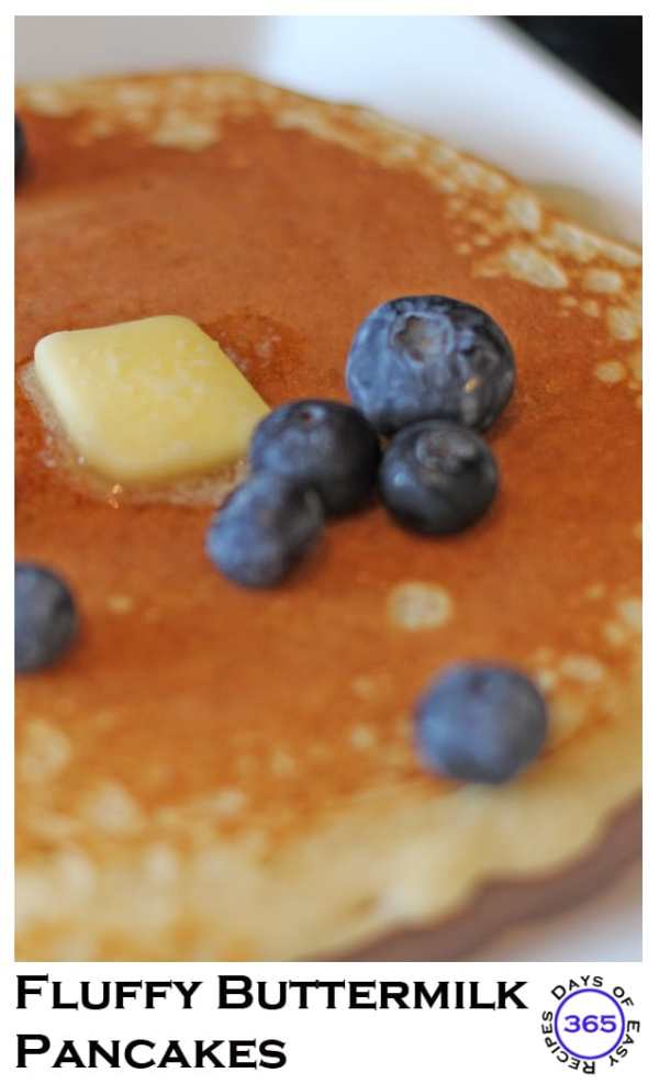 These buttermilk pancakes are the softest and fluffiest you'll ever make from scratch. Add some berries in the batter or on top for that extra special touch. 365daysofeasyrecipes.com
