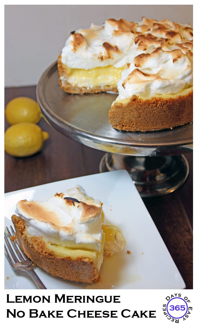 Lemon Meringue No Bake Cheese Cake | 365daysofeasyrecipes.com