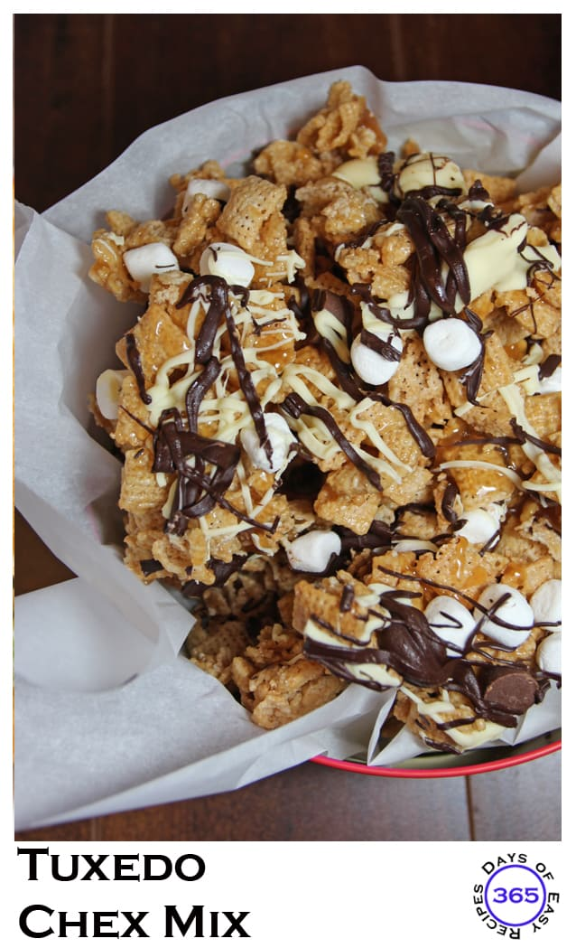 Tuxedo Chex Mix – Decadent party snacks using Chex original cereal and chocolate and Rolo minis and white chocolate and Hershey's Skor Toffee bits. Did I mention there's chocolate?  365daysofeasyrecipes.com