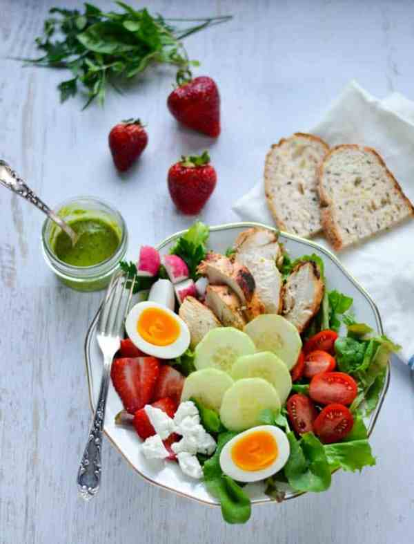Fines Herbes Chicken Salad with Strawberries and Goat Cheese