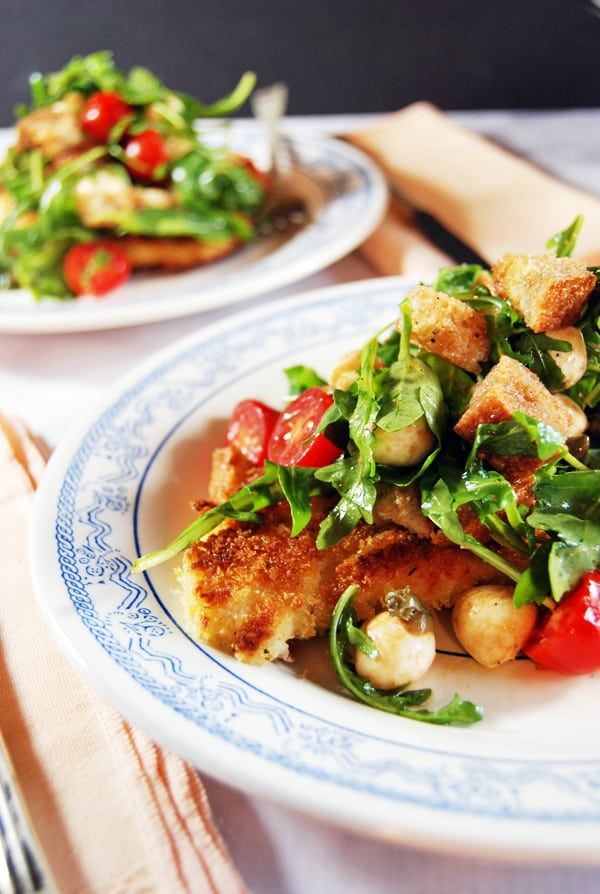 Pan-Fried Chicken Paillard with Cherry Tomato Panzanella