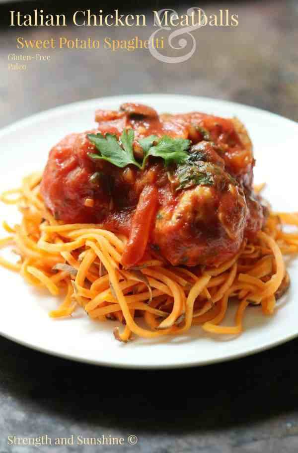 Italian Chicken Meatballs & Sweet Potato Spaghetti