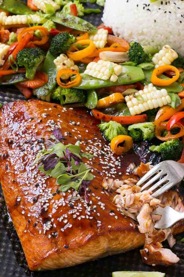 Hoisin lime glazed salmon with mixed vegetables