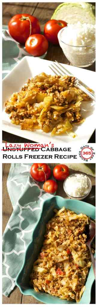 These Unstuffed (aka Lazy Woman's) Cabbage Rolls are a super Easy Freezer Meal Recipe that's healthy and nutritious   365 Days of Easy Recipes