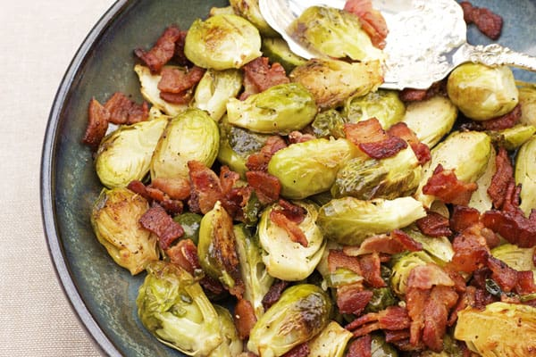 This Roasted Brussels Sprouts Recipe with Bacon makes a fantastic side dish for Thanksgiving dinner, Christmas dinner or even an everyday dinner | 365 Days of Easy Recipes