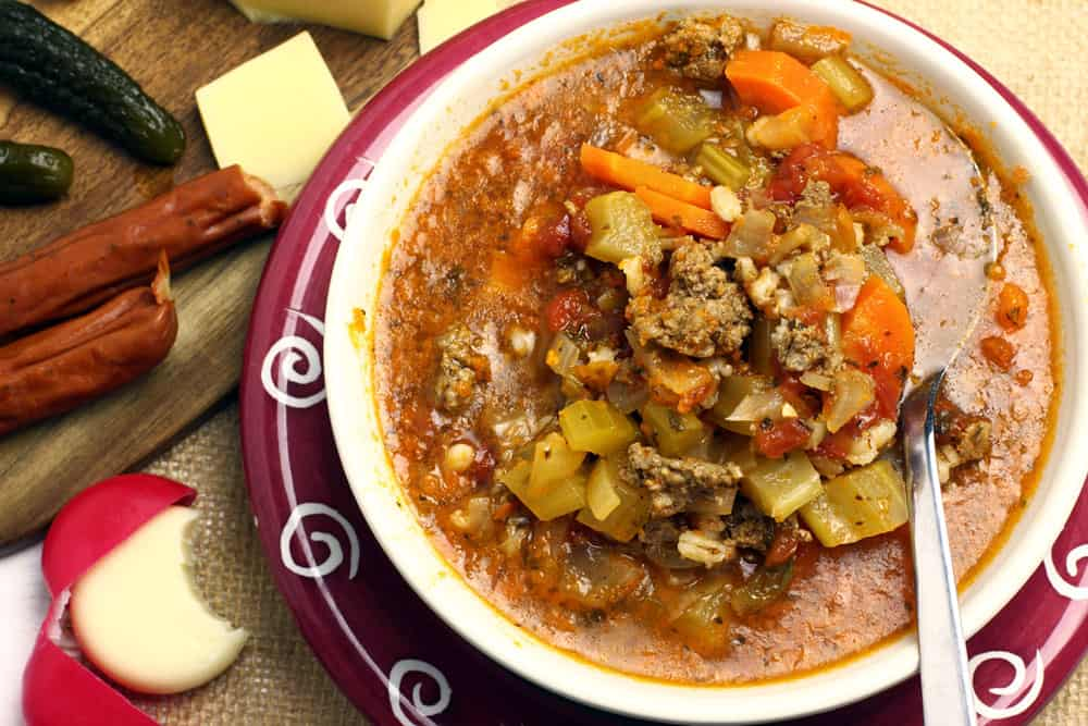 This Easy Hamburger Soup Recipe comes together quickly with barley, ground beef and tons of vegetables | 365 Days of Easy Recipes
