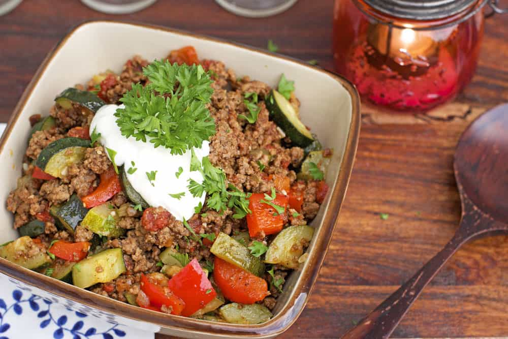 Mexican Ground Beef Zucchini Skillet