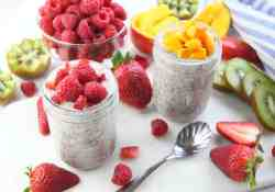 Chia pudding made with Greek yogurt, maple syrup and fresh fruit for a delicious healthy breakfast | 365 Days of Easy Recipes