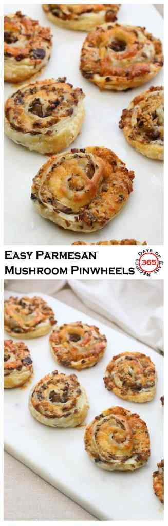 These Easy Parmesan Mushroom Pinwheel appetizers are for all the mushroom lovers out there.
