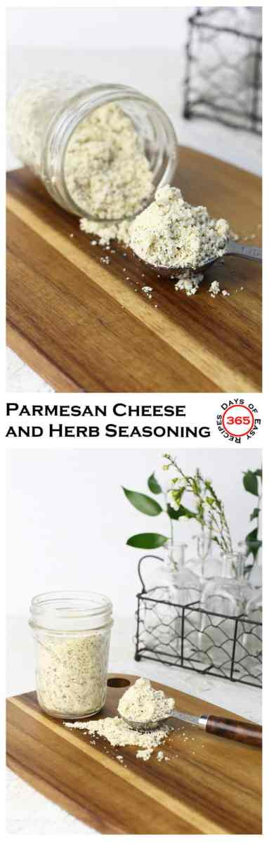 Better than the name brand version, this parmesan cheese and herb seasoning blend is perfect with pasta and roasted vegetables.