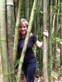 My mom in the bamboo forest.