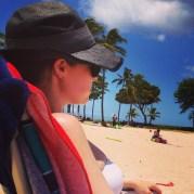 Enjoying the scenery at Ko Olina Beach.