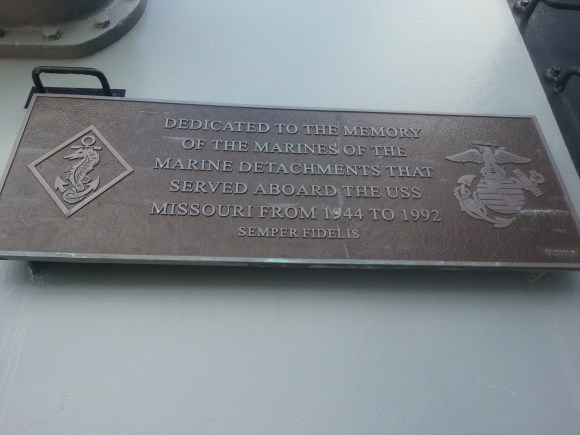 Plaque in honor of the marines that served on the USS Missouri.