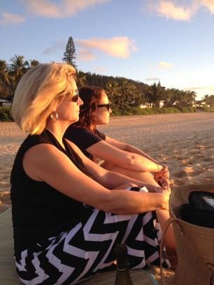 My mom and I enjoying the sunset.