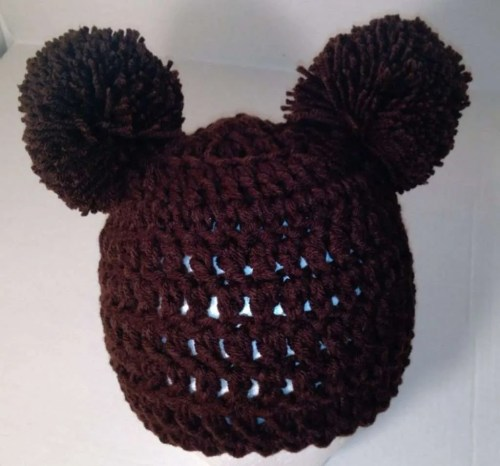 Brown Double Pom Pom Hat