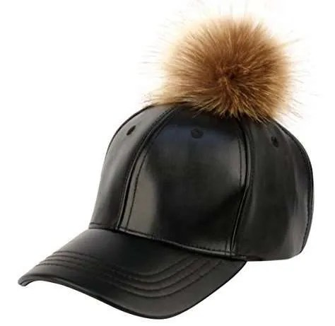 Faux Leather 6 Panel Pom Pom Baseball Cap